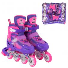 Детские раздвижные ролики Best Roller 40005-М (34-37), фиолетовые, колеса PVC, переднее светится