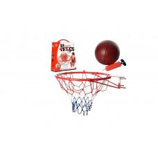 Детское металлическое баскетбольное кольцо, с сеткой, M 2654, диаметр 45см