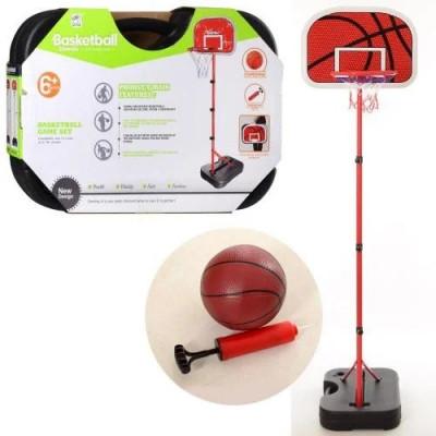Баскетбольное кольцо MR, стойка, сетка, надувной мяч, насос, высота 1,78 м, в чемодане (0072)
