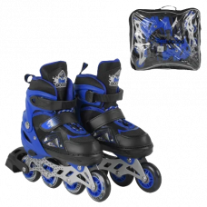 Ролики Best Roller 7917-М (34-37) синий, раздвижные, колеса ПУ, 1 светится, в сумке