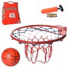 Баскетбольное кольцо Металл M 5967, Диаметр 45 см, Мяч, Насос, Сетка
