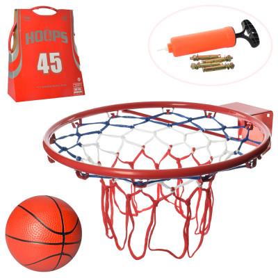 Баскетбольное кольцо Металл M, Диаметр 45 см, Мяч, Насос, Сетка (5967)