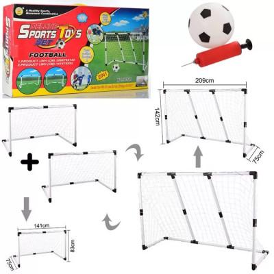 Футбольные ворота MR 2в1, 209-75-142 см или 2шт по 141-83-75 см, 3 сетки в комплекте, мяч, насос (0395)