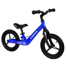 """Велобег Corso 39182, Синий, колеса 12"""" надувные, магниевая рама, магниевый руль"""