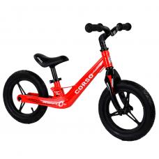 """Велобег Corso 66650, Красный, колеса 12"""" надувные, магниевая рама, магниевый руль"""