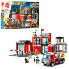 Конструктор Qman 2808 Пожарный участок, машина, фигурки, 523 детали, в кор-ке, 52-34-6,5 см