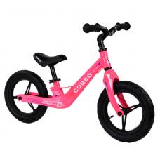 """Велобег Corso 76360, Розовый, колеса 12"""" надувные, магниевая рама, магниевый руль"""