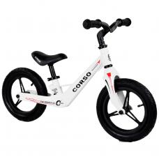 """Велобег Corso 86969, Белый, колеса 12"""" надувные, магниевая рама, магниевый руль"""