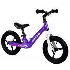 """Велобег Corso 22709, Фиолетовый, колеса 12"""" надувные, магниевая рама, магниевый руль"""