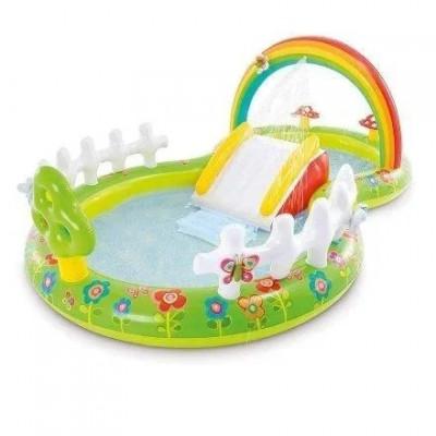 Надувной игровой центр Intex «Мой сад», 290х180х104 см, с надувными игрушками, фонтаном и горкой (57154)