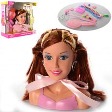 Кукла DEFA 8056 Манекен голова для причесок, 17 см, расческа, аксессуары