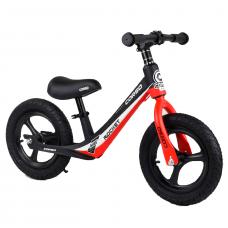 """Велобег Corso 67689, Красный, колесо 12"""" надувные, магниевая рама, магниевые диски, подножка"""