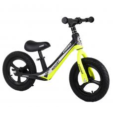 """Велобег Corso 63181, Желтый, колесо 12"""" надувные, магниевая рама, магниевые диски, подножка"""
