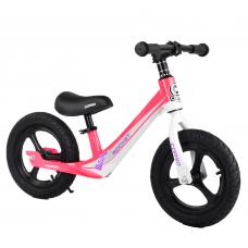 """Велобег Corso 27667 Розовый, колесо 12"""" надувные, магниевая рама, магниевые диски, подножка"""
