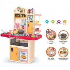 Кухня 97 см детская 74 детали, подсветка, звук, мелодии, идет пар, на батарейках (922-107)