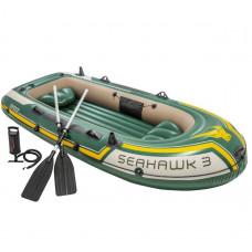 Трёхместная надувная лодка 68380 Intex с веслами и насосом Seahawk 3 Set, 295-137-43 см