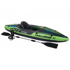 Надувная лодка-байдарка Challenger K1 Kayak 68305, с веслом и насосом, на 1 человека, 274-76-38 см