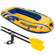 Надувная лодка 68367 Intex Challenger 2 Set, с веслами и насосом, на 2 людей 114-236 см
