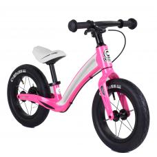 """Велобег Corso """"Prime C7"""" 78753 Розово-белый, колесо 12"""", магниевая рама, задний ручной тормоз"""