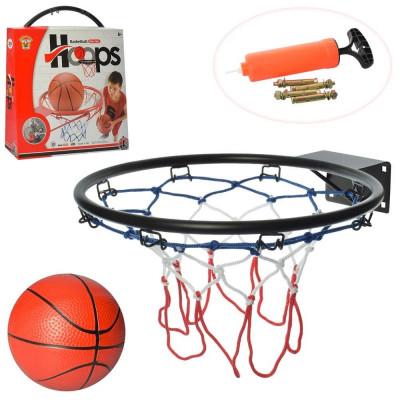 Баскетбольное кольцо Металл M, Диаметр 32 см, Мяч, Насос, Сетка (5965)