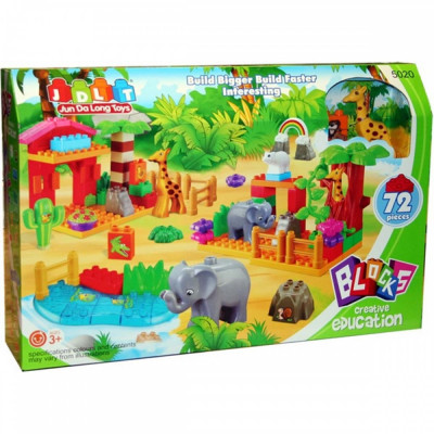 Детский развивающий конструктор JDLT Зоопарк 72 детали (5020)