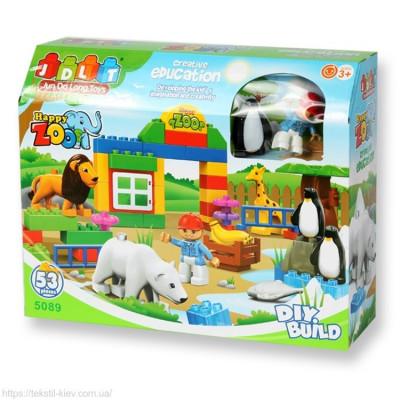 Детский блочный конструктор JDLT Зоопарк 53 детали (5089)