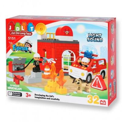 Детский развивающий конструктор JDLT Пожарная станция 32 детали (5151)