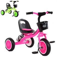 Детский трехколесный велосипед Turbo Trike, M 3197-M-2, с корзинкой и бутылочкой, розовый и салатовый