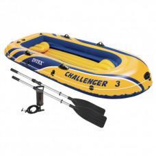 """Надувная трехместная лодка Intex """"Challenger 3 Set"""", 68370, весла + насос, 295*137*43 см, до 200кг"""