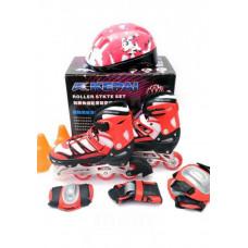 Ролики раздвижные Kepai F1-K9 + защита + шлем S (30-33) Красные