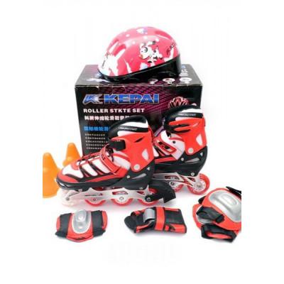 Ролики раздвижные Kepai F1-K9 + защита + шлем, размер S (30-33) Красные