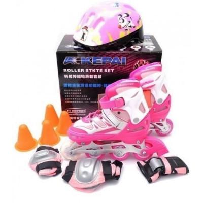 Ролики раздвижные Kepai F1-K9 + защита + шлем, размер S (30-33) Розовые