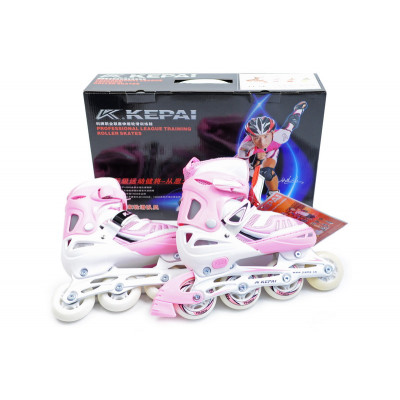 Ролики детские раздвижные Kepai F1-S6 размер: 34-37, Розовые
