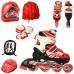 Детские раздвижные ролики с защитой (Красный, М 35-38)