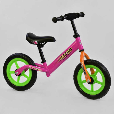 """Велобег CORSO F Розовый колесо 12"""" EVA (6833)"""