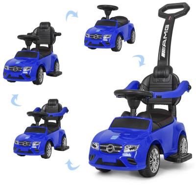 Машинка толокар-каталка с родительской ручкой, подставка для ног, «Mercedes-AMG», Синий, музыка (M 3902L-4)