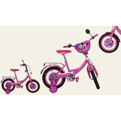 Велосипед 2-х колесный 16'' Розовый со звонком, зеркалом, ручной тормоз (M1816)