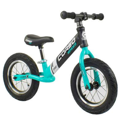"""Беговел - велобег Corso 12"""" Черный с голубым"""