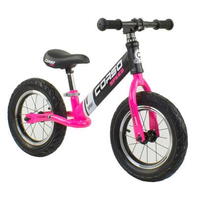 """Беговел - велобег Corso 12"""" Черный с розовым"""