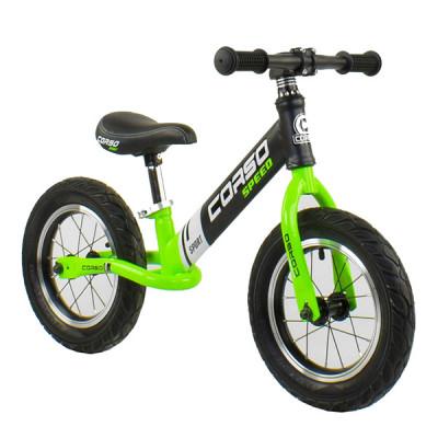 """Беговел - велобег Corso 12"""" Черный с зеленым"""