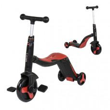 Детский велосипед - самокат 3 в1 Best Scooter (Черно-красный, SC20109)