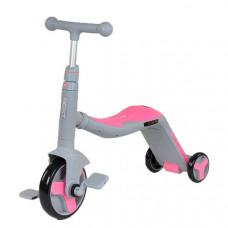 Детский велосипед - самокат 3 в1 Best Scooter (Серо-розовый, SC20111)
