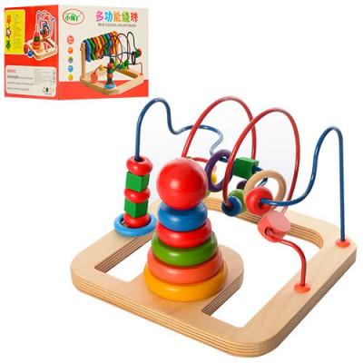 Деревянная игрушка Лабиринт на проволоке Пирамида, кольца 5 шт (А 03241)