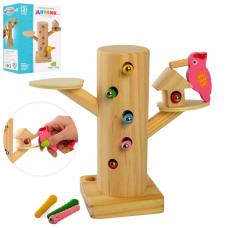 Дерев'яна іграшка Гра (20шт): дятел, магнітна, пеньок, гусениці