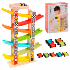 """Дерев'яна гра """"Парковка"""": 7 машинок, 7 поверхів, в коробці"""