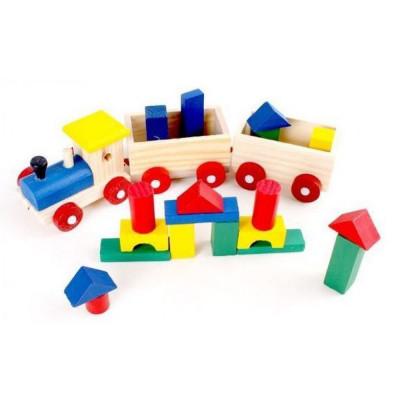 Деревянная игрушка Паровозик Конструктор-каталка 23 см (MD 0011)