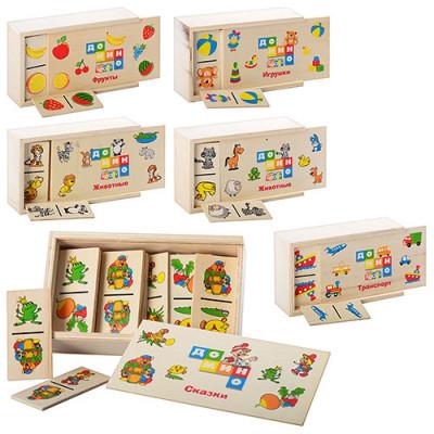 Деревянная игрушка Домино Woki пенал+28 карточек в ассортименте (MD 0017)
