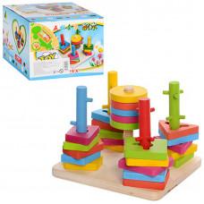 "Деревянная игрушка ""Геометрика"" пирамида ключик MD 0061"