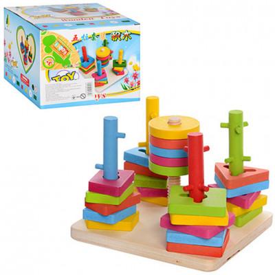 """Деревянная развивающая игрушка """"Геометрика"""" пирамида ключик, замочек (MD 0061)"""