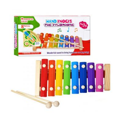 Деревянная игрушка ксилофон с металлическими пластинами, 8 тонов (MD 0713)